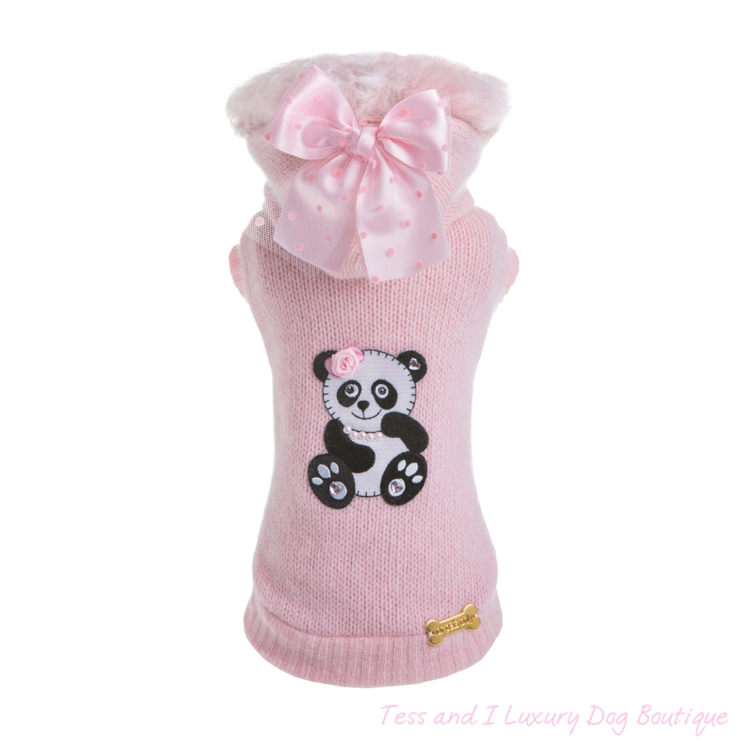 FOR PETS ONLY-CHIC PANDA PINK WOOL SWEATER-LIMITED EDITION